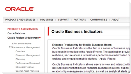 Oracle Business Indicator