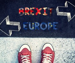 Student standing above the sign for brexit or Europe