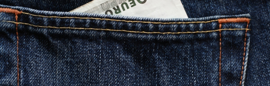 100 euro banknote in a jeans pocket.