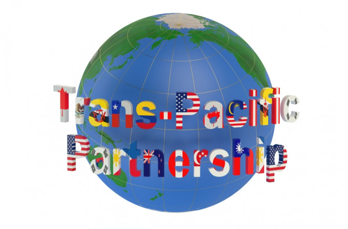 Trans-Pacific Partnership concept isolated on white background