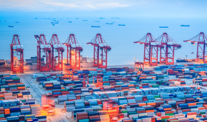 shanghai container terminal at dusk ,yangshan deep-water port , China
