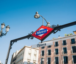 Metro sign in Opera street Madrid. Subway sign.
