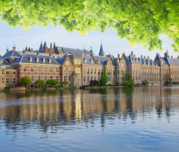 view of Binnenhof - Dutch Parliament with green leaves, The Hague, Holland