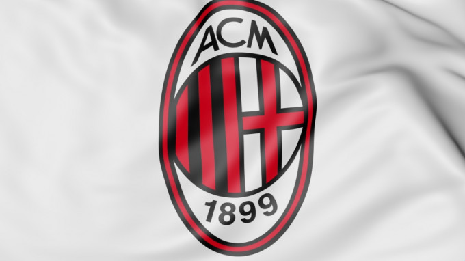 Close-up of waving flag with AC Milan football club logo, 3D France