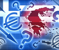 Greece crisis blue red backgroud